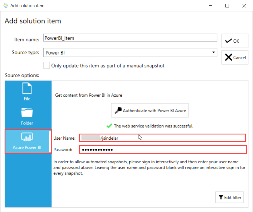 DOC xPress Add Solution Item Azure Power BI