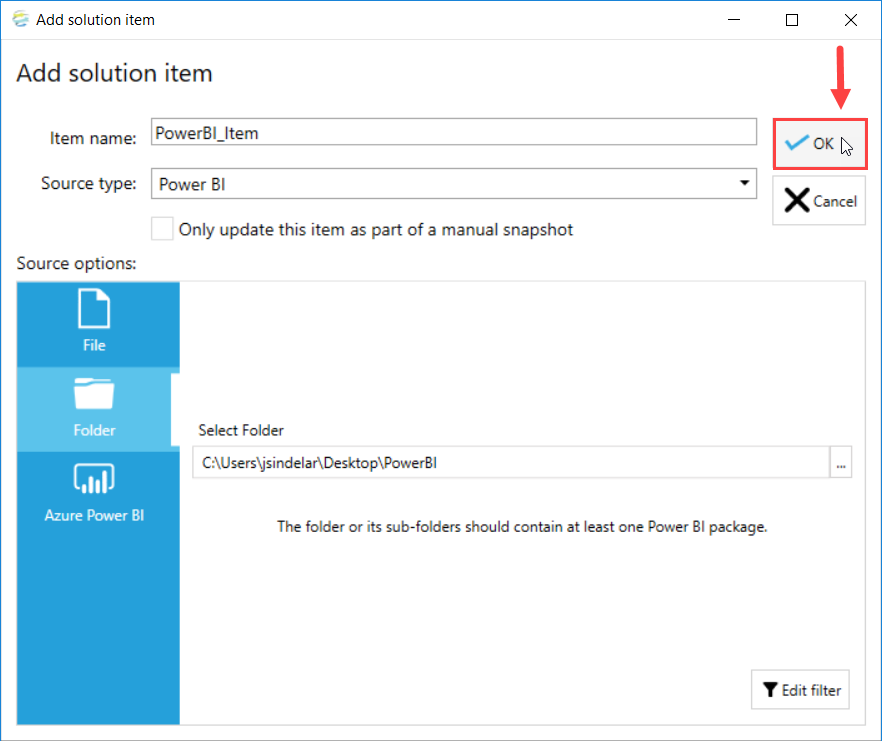 DOC xPress Add Solution Item Power BI select Ok