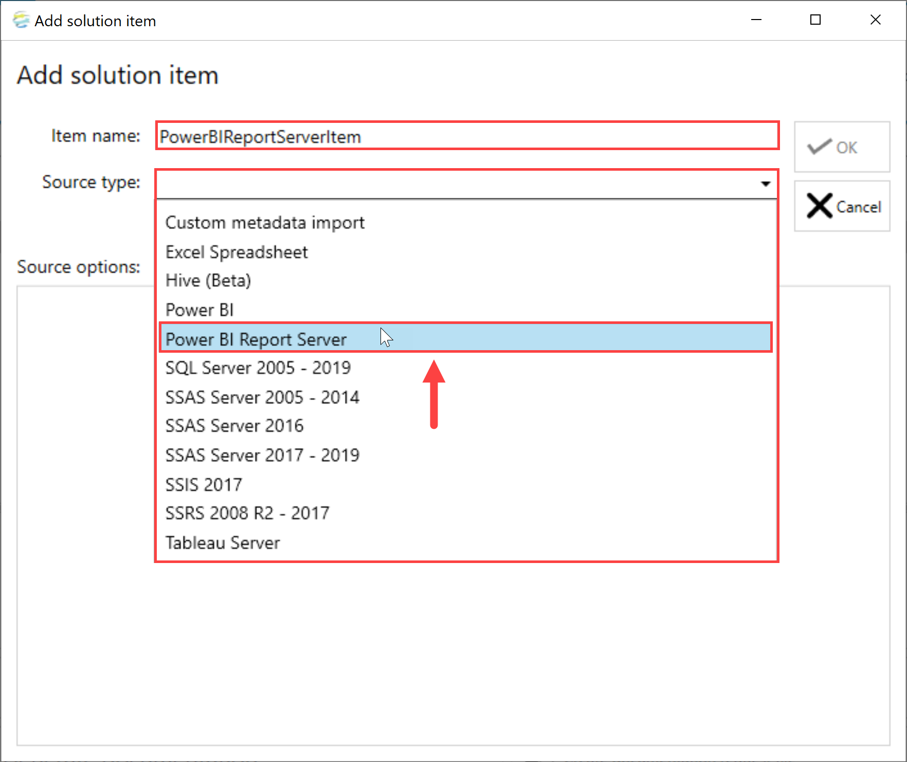 DOC xPress Add Solution Item Power BI Report Server