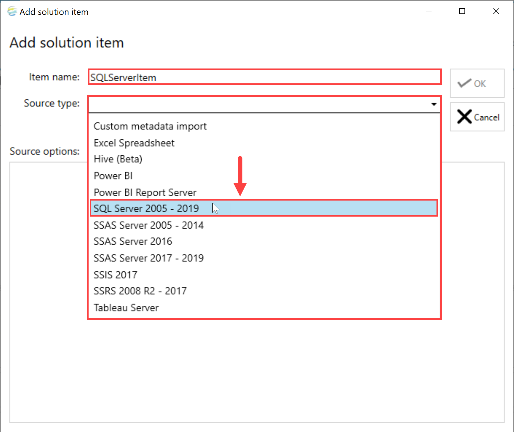 DOC xPress Add Solution Item SQL Server