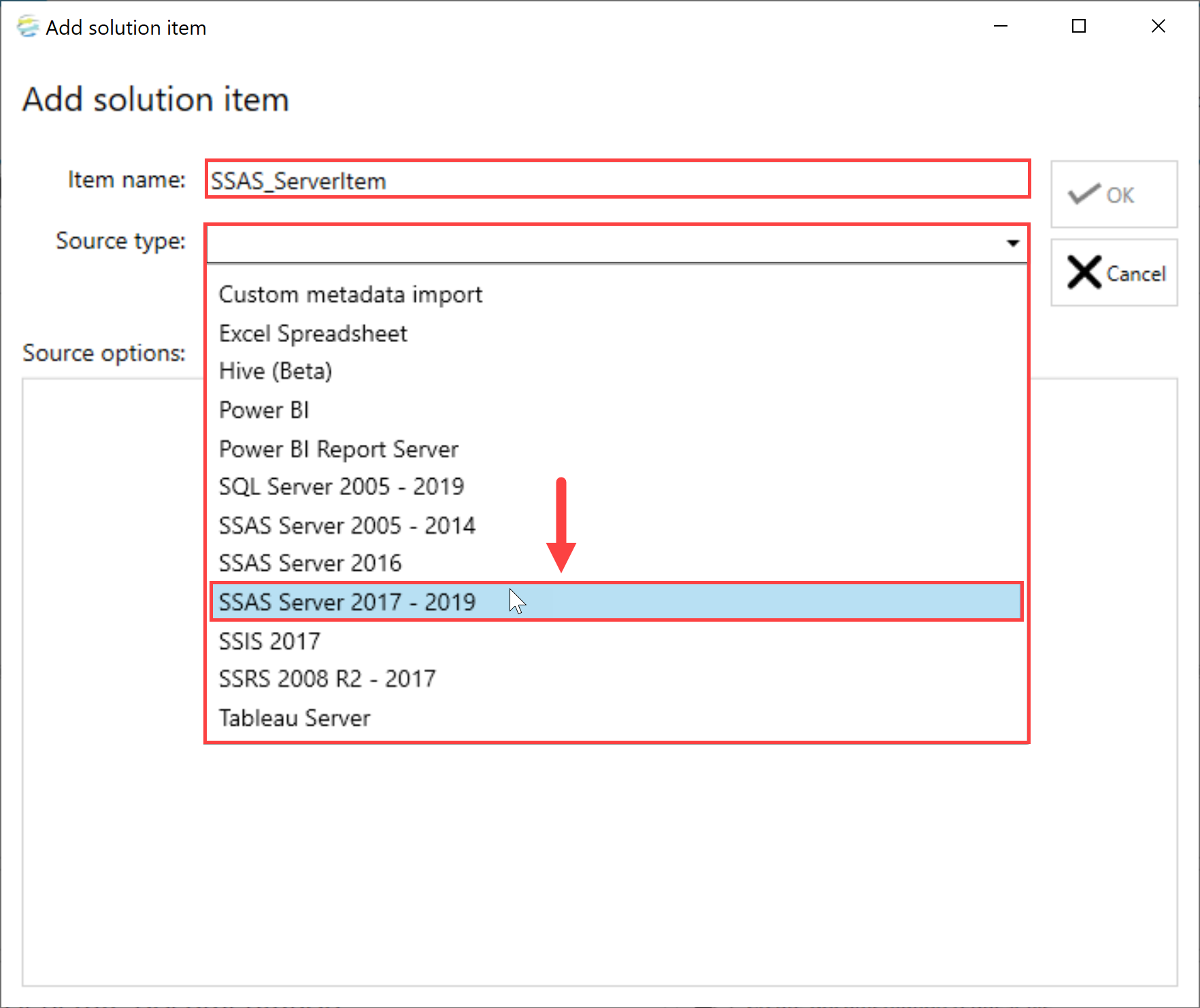 DOC xPress Add Solution Item SSAS Server 2017