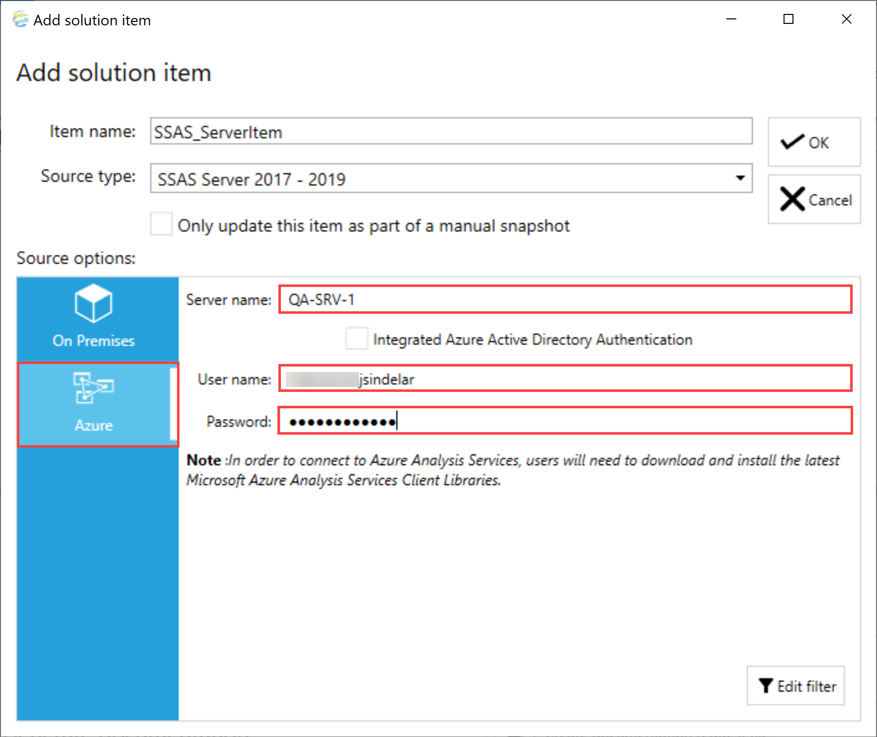 DOC xPress Add Solution item SSAS Server Azure