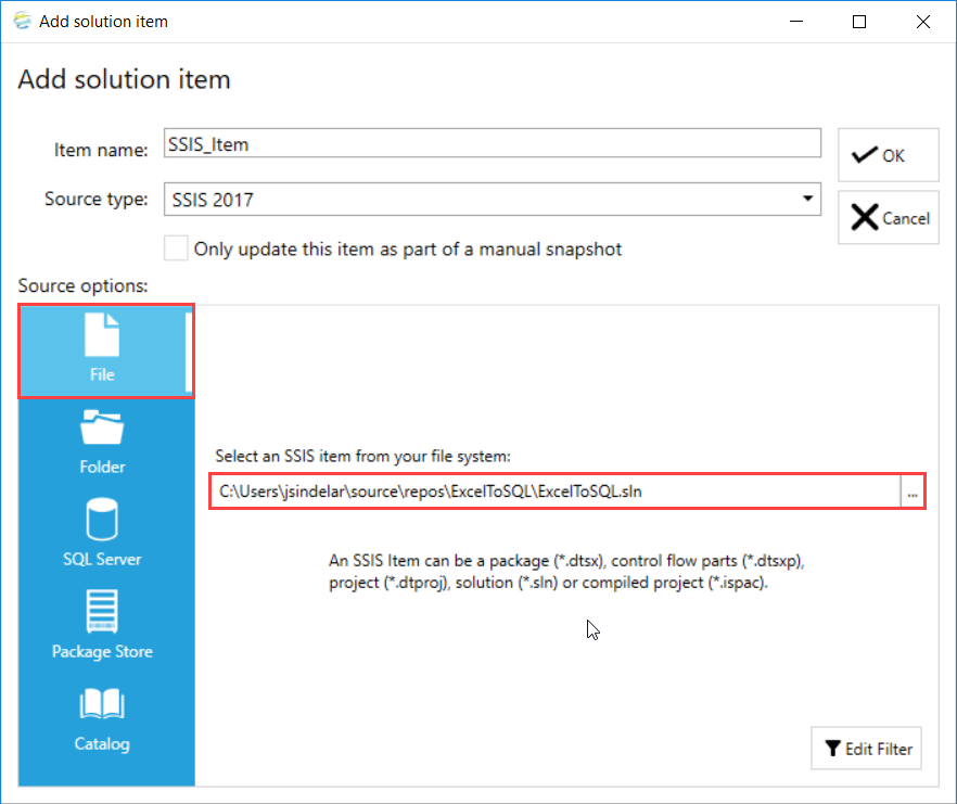 DOC xPress Add Solution Item SSIS Package File