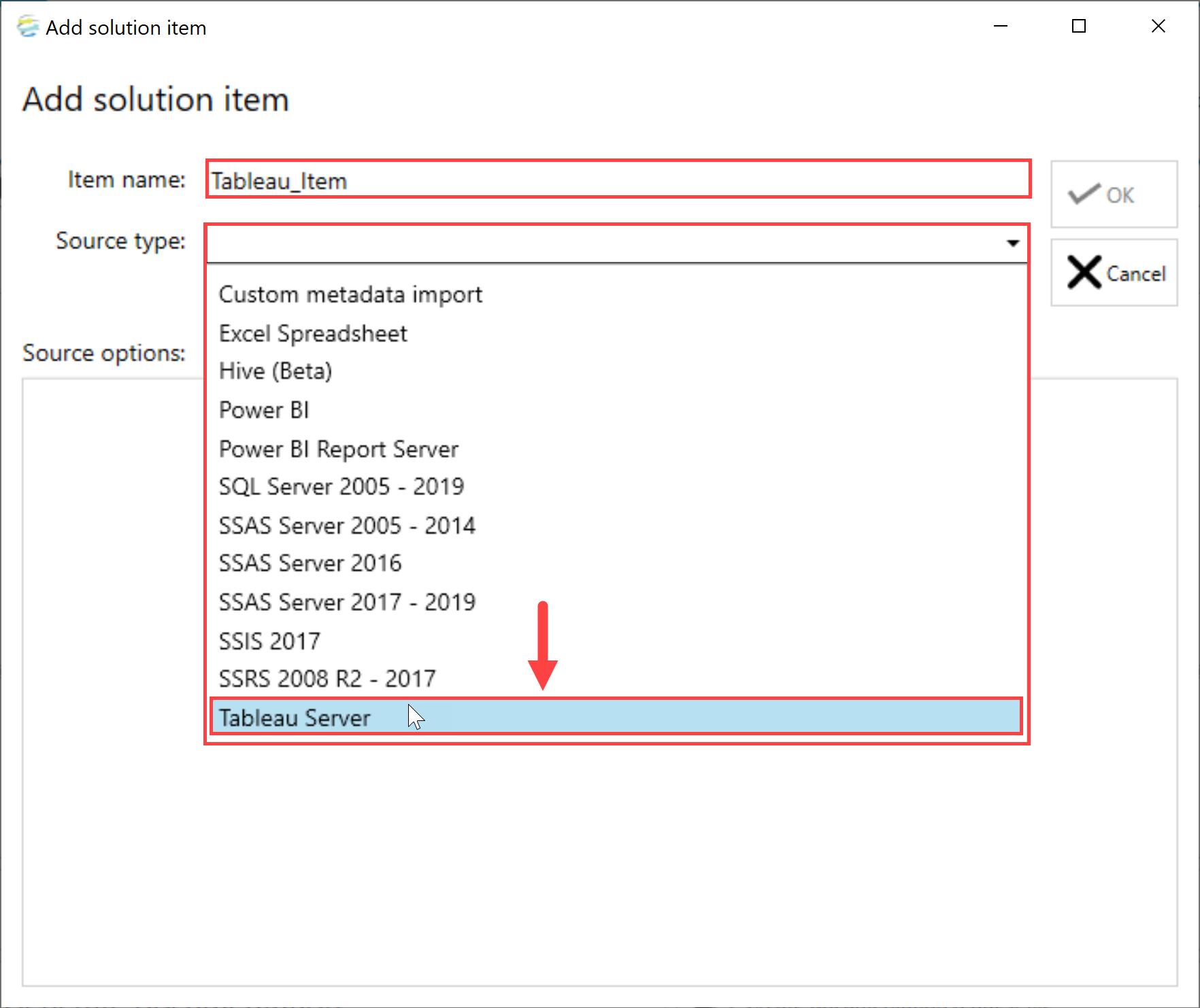 DOC xPress Add Solution Item Tableau Server