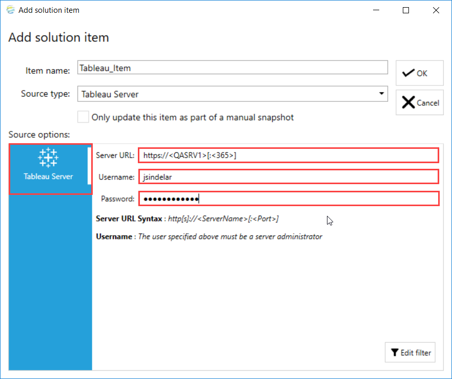 DOC xPress Add solution item Tableau Server Configuration