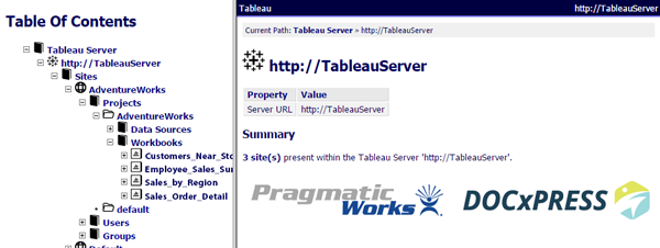 DOC xPress Tableau Server Sample Output Example