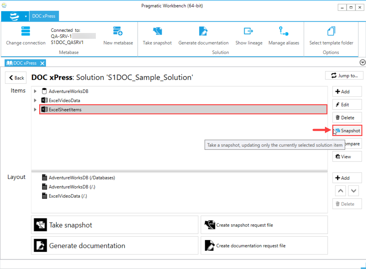 DOC xPress DOCxPress Solution Snapshot selected Solution item