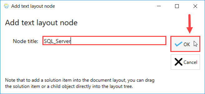 DOC xPress Add text layout node window