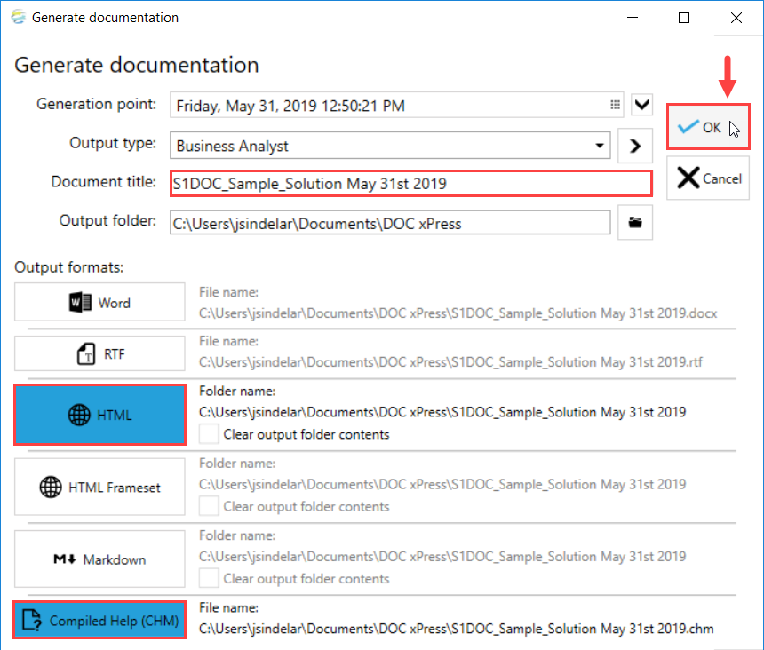 DOC xPress Generate documentation window select Ok