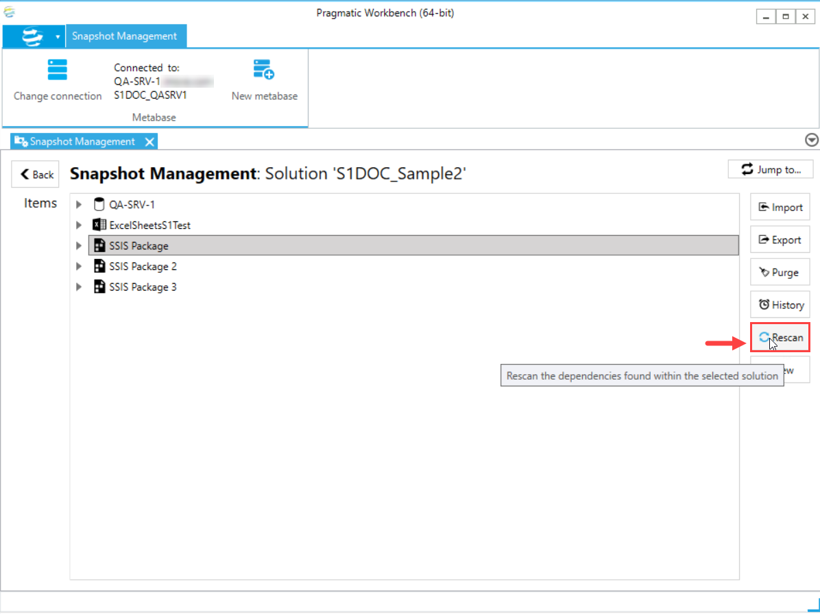 DOC xPress Snapshot Management Solution select Rescan