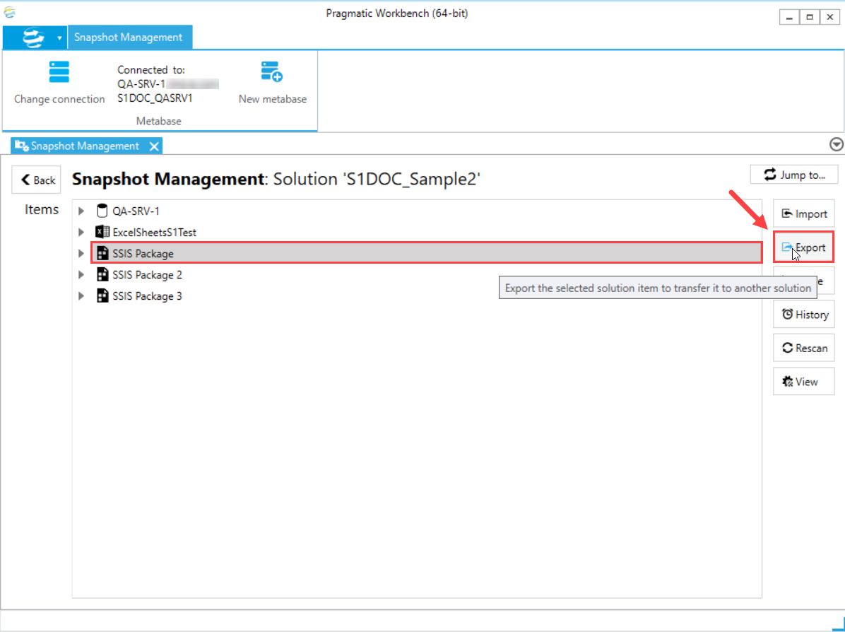 DOC xPress Snapshot Management Solution select Export