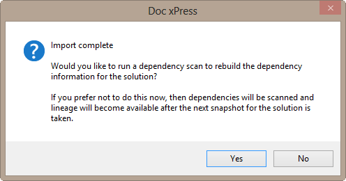 DOC xPress Import Complete window