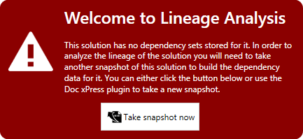 DOC xPress Lineage Analysis Welcome prompt