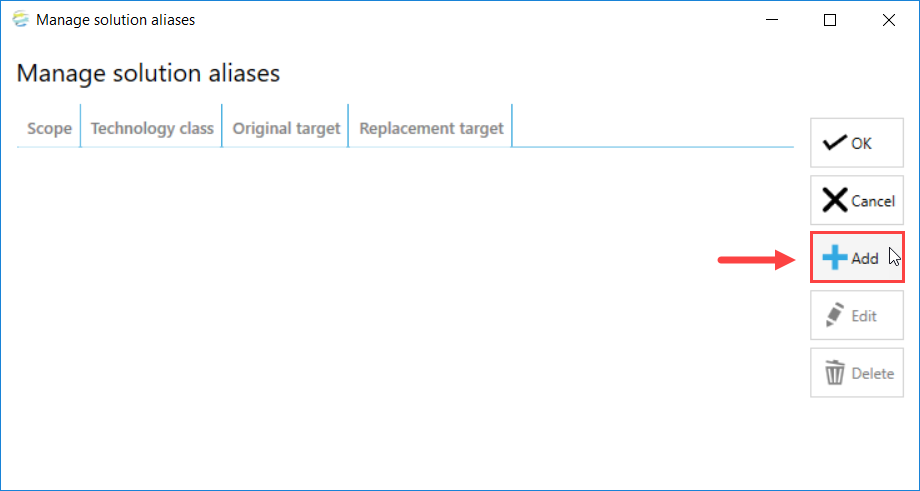 DOC xPress Manage solution aliases window select Add