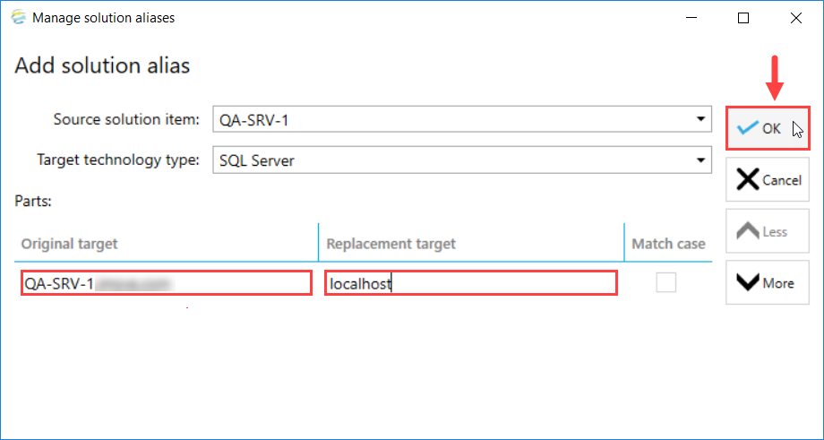 DOC xPress Add solution alias window enter target names