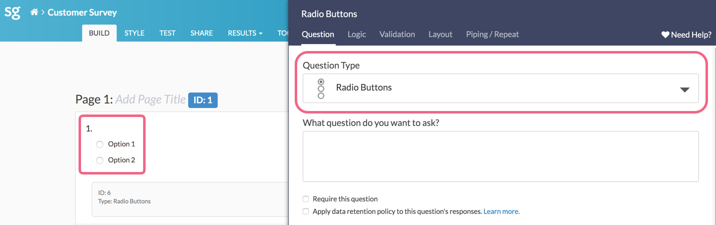 Default Question - Radio Buttons