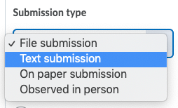 Shows submission types.