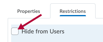 Indicates Hide from users checkbox
