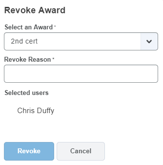 Shows Award selection dropdown and Revoke button.