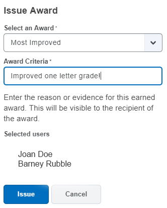 Shows Award list dropdown and Award Criteria field.