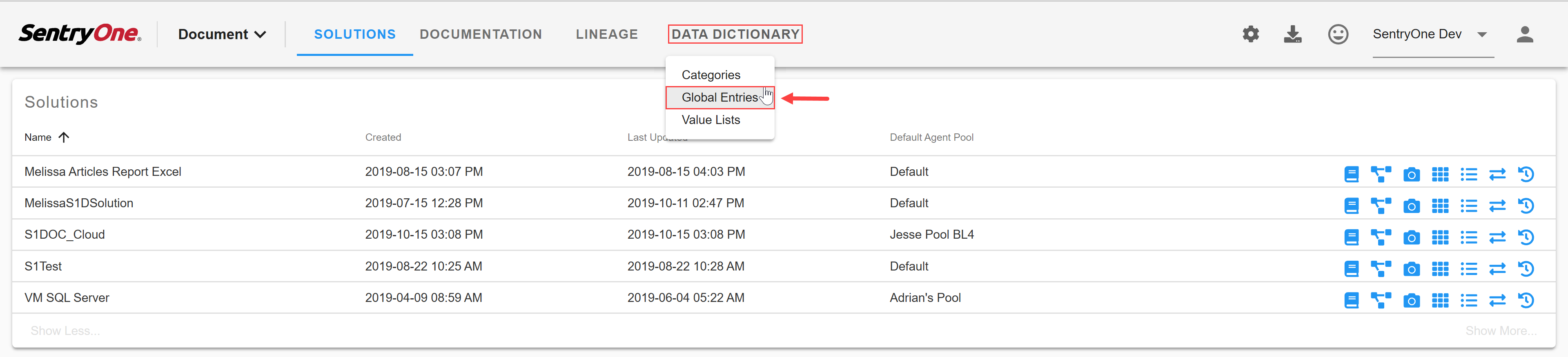 SentryOne Document select Data Dictionary Global Entries