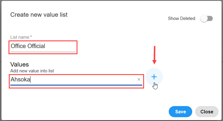 SentryOne Document Data Dictionary Create new value list