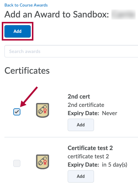 Identifies chosen awards and indicates Add button