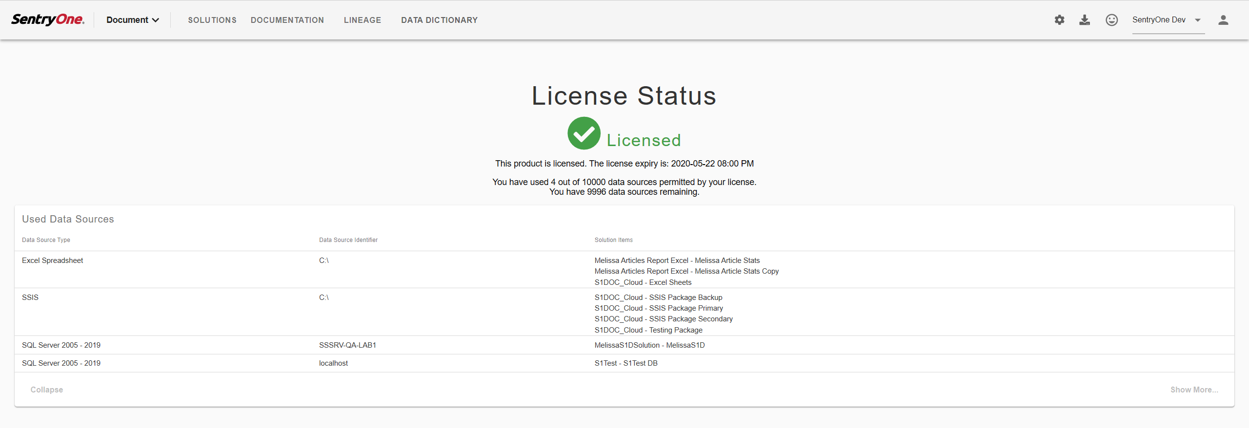 SentryOne Document License Status page