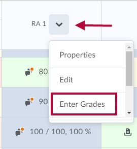 Image indicates the dropdown arrow and identifies the Enter Grades option.