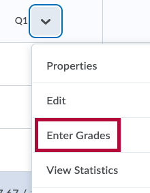 Identifies Enter Grades menu item.