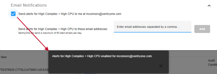 SentryOne Monitor Send Alerts for condition