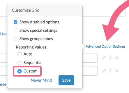 Select Custom Reporting Values