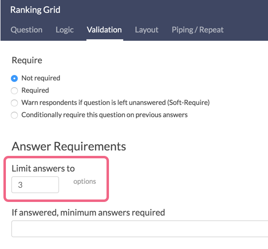Limit Answers in Ranking Questions