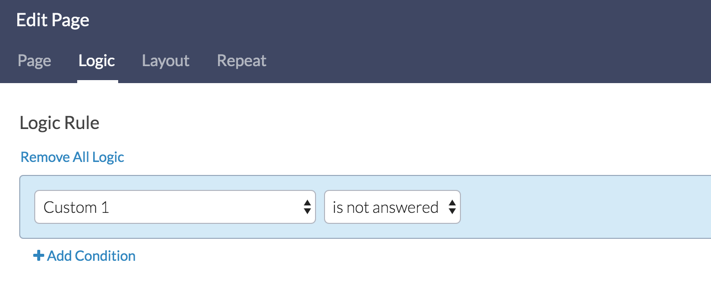 Page Logic Example - Is Not Answered