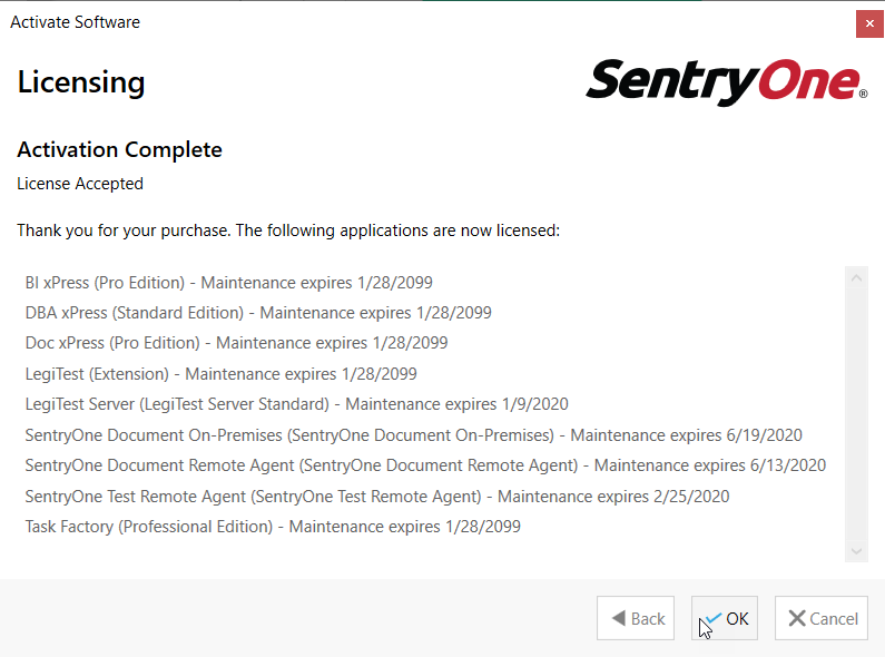 SentryOne Task Factory License Activation complete