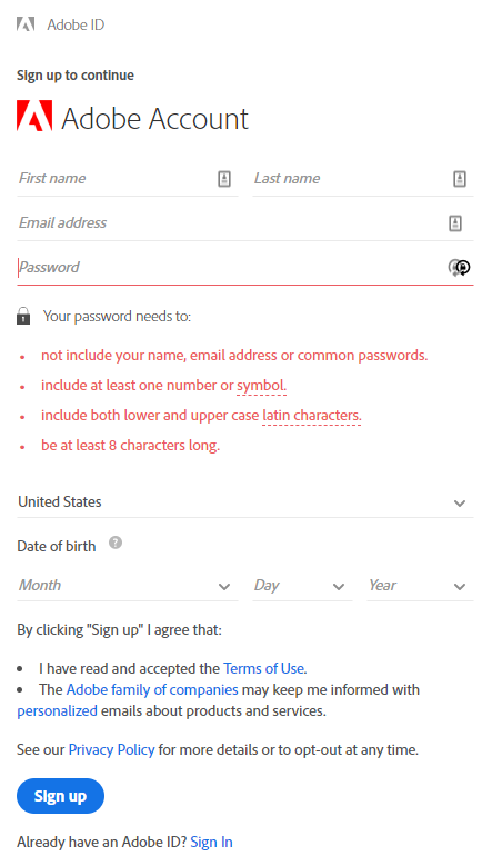 Adobe new account sign up window