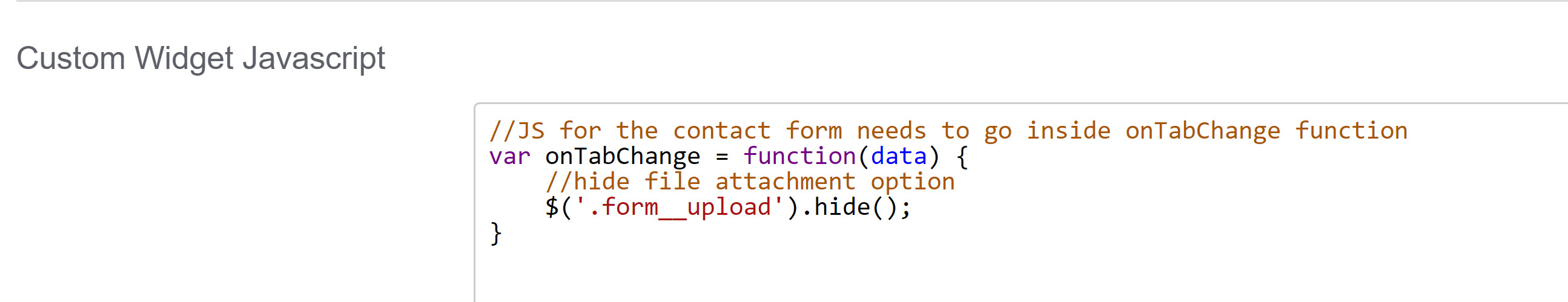 Screenshot showing sample custom widget Javascript to hide the file attachment option in the contact tab