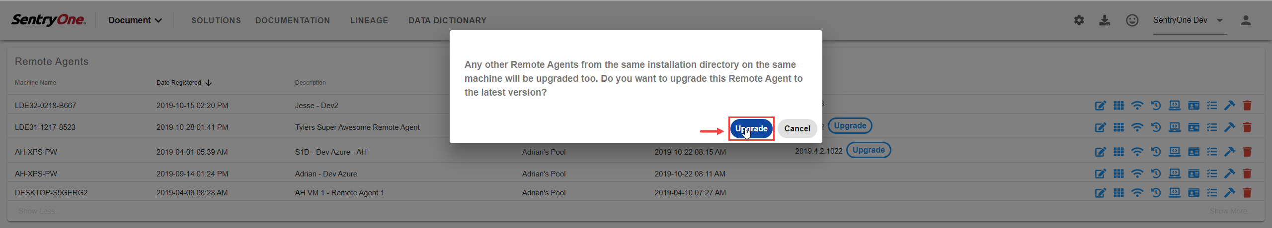 SentryOne Document Remote Agents Upgrade Remote Agent Prompt