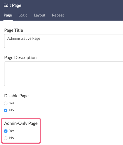 Admin-Only Page Setting