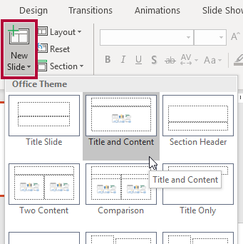 Screenshot of New Slide button being clicked and various slide layouts are being presented.