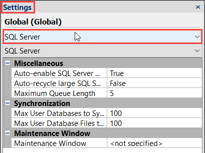 SentryOne Settings pane select SQL Server settings from the top drop-down list