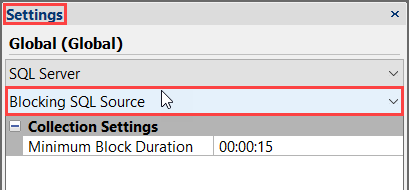 SentryOne Settings pane select Blocking SQL Source settings from the bottom drop-down list