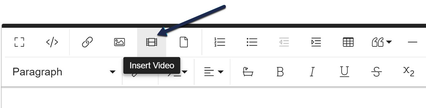Screenshot with an arrow pointing to the Insert Video icon in the Modern editor