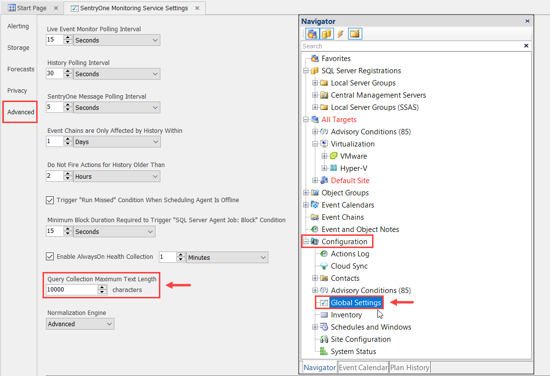 SentryOne Monitoring Service Settings Advanced tab Query Collection Maximum Text Length setting
