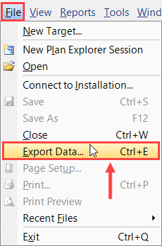 SentryOne File > Export Data