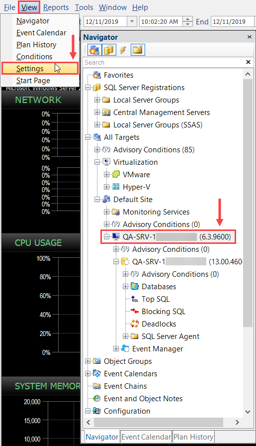 SentryOne select the desired node in the Navigator and then open the Settings pane