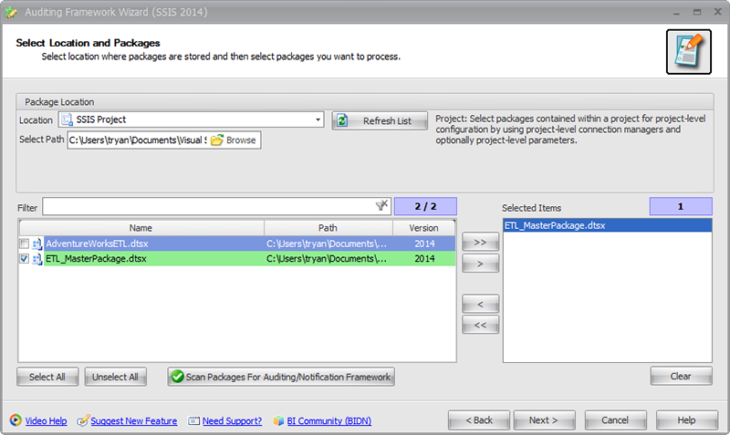 BI xPress Auditing Framework Wizard Select Location and Packages