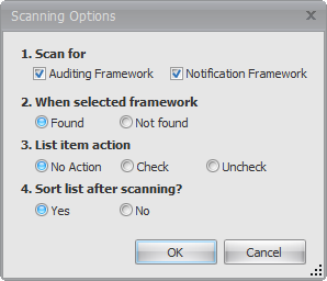 BI xPress Auditing Framework Wizard Scanning Options window
