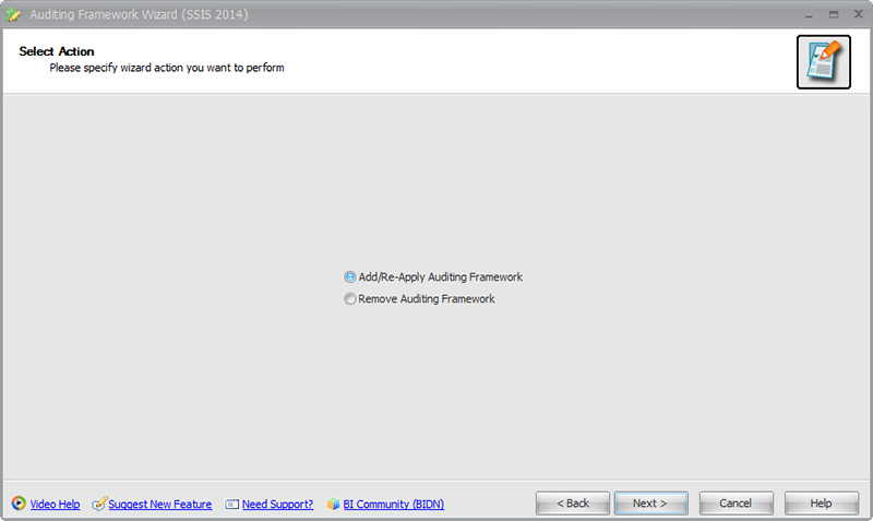 BI xPress Auditing Framework Wizard Select Action