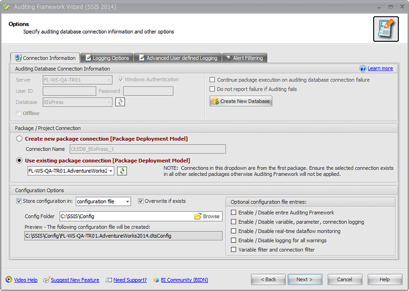 BI xPress Auditing Framework Wizard Options